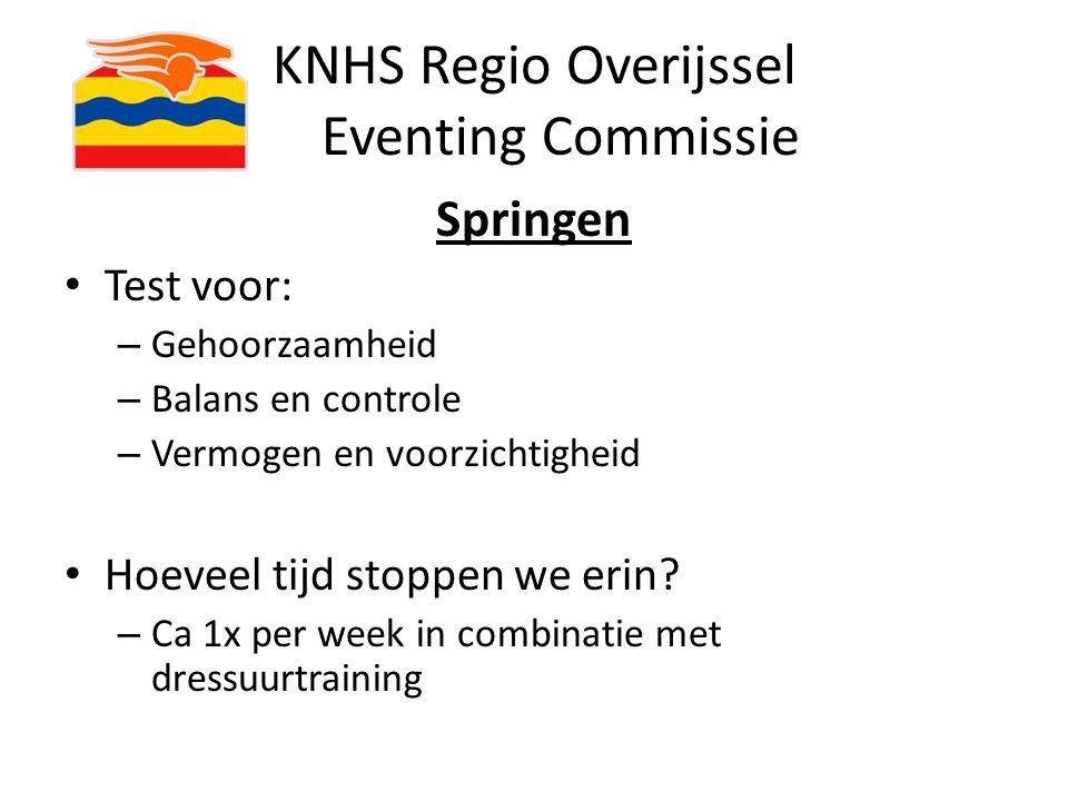 KNHS Regio Overijssel Eventing Commissie Springen Test voor: – Gehoorzaamheid – Balans en controle – Vermogen en voorzichtigheid Hoeveel tijd stoppen
