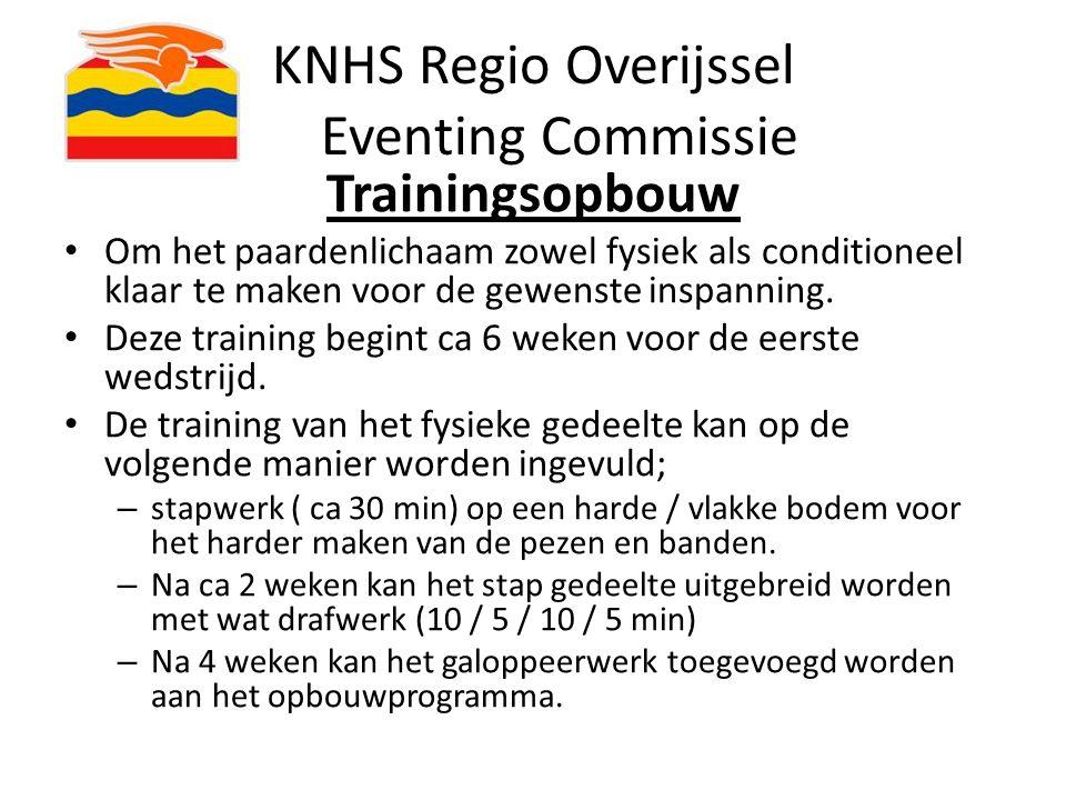 KNHS Regio Overijssel Eventing Commissie Trainingsopbouw Om het paardenlichaam zowel fysiek als conditioneel klaar te maken voor de gewenste inspannin