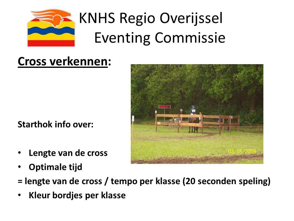 KNHS Regio Overijssel Eventing Commissie Tempo in de cross: Pony's:cat.A/Bcat.C/D/E Klasse B420 m/minuut450 m/minuut Klasse L430 m/minuut460 m/minuut Klasse M480 m/minuut Klasse Z500 m/minuut Paarden: Klasse B460 m/minuut Klasse L480 m/minuut Klasse M500 m/minuut Klasse Z520 m/minuut