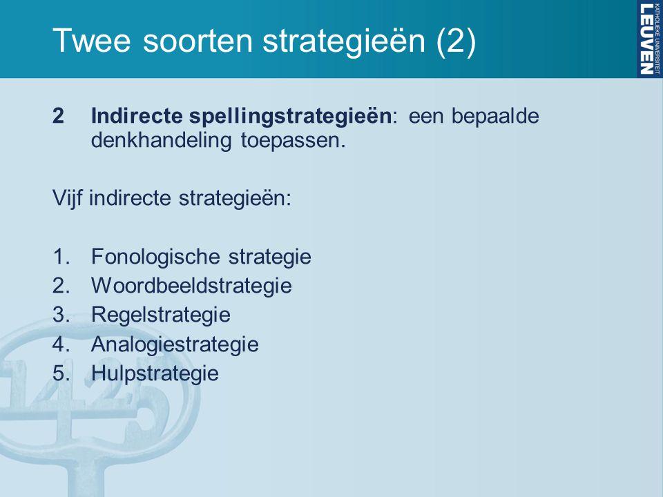 Twee soorten strategieën (2) 2Indirecte spellingstrategieën: een bepaalde denkhandeling toepassen. Vijf indirecte strategieën: 1.Fonologische strategi