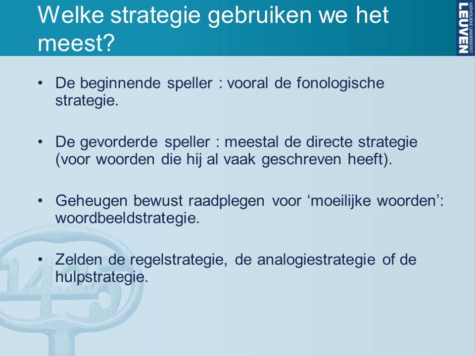 Welke strategie gebruiken we het meest? De beginnende speller : vooral de fonologische strategie. De gevorderde speller : meestal de directe strategie