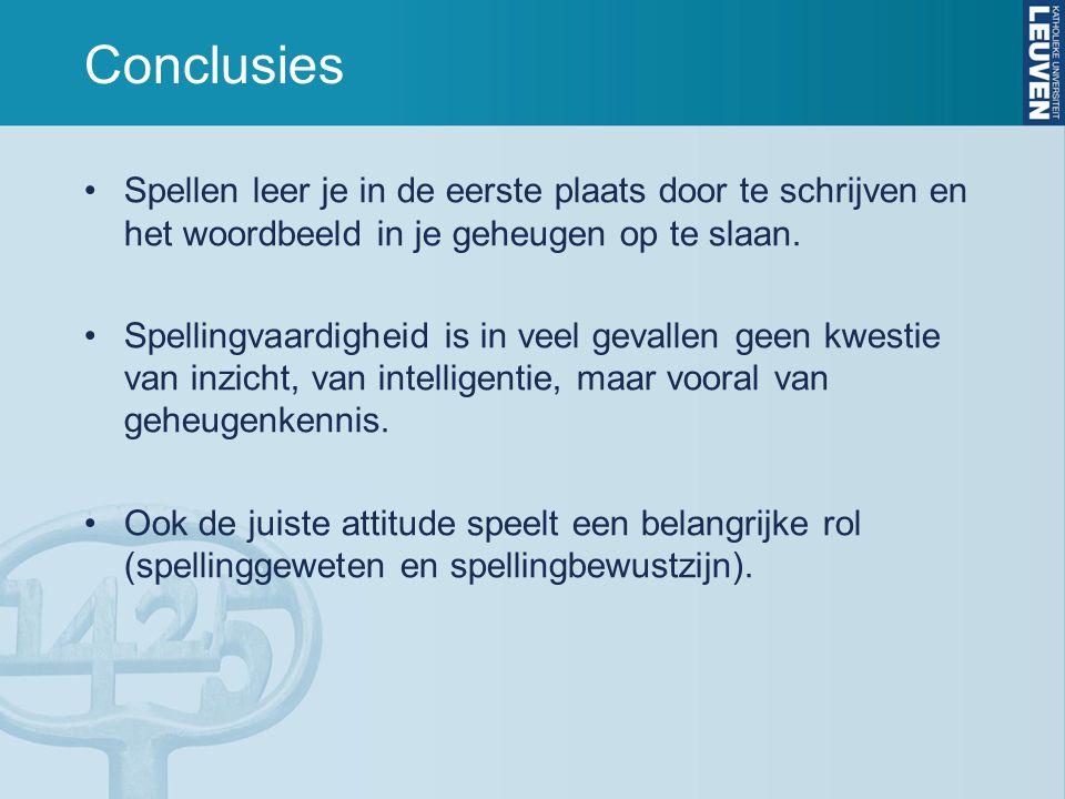 Conclusies Spellen leer je in de eerste plaats door te schrijven en het woordbeeld in je geheugen op te slaan. Spellingvaardigheid is in veel gevallen