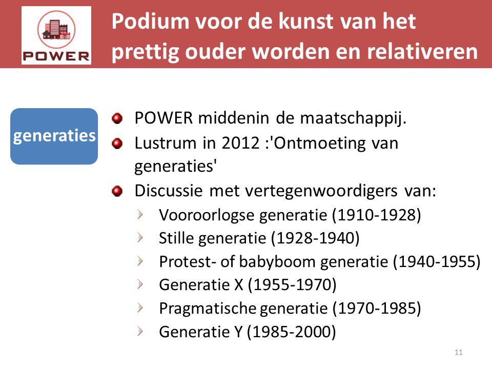 Podium voor de kunst van het prettig ouder worden en relativeren 11 generaties POWER middenin de maatschappij. Lustrum in 2012 :'Ontmoeting van genera