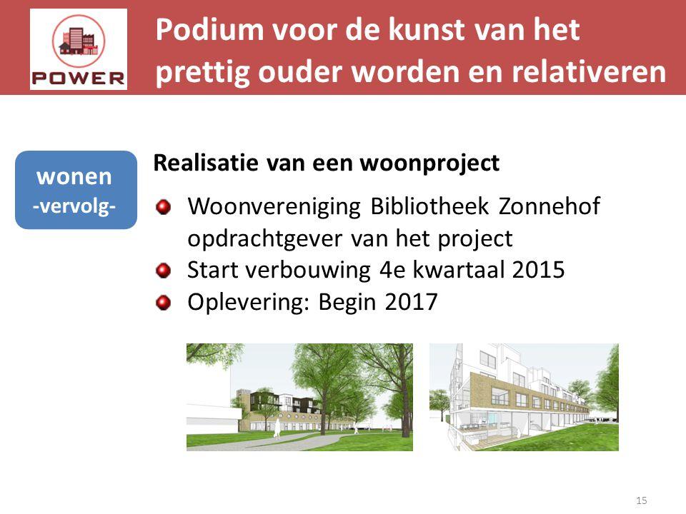 Podium voor de kunst van het prettig ouder worden en relativeren 15 wonen -vervolg- Realisatie van een woonproject Woonvereniging Bibliotheek Zonnehof