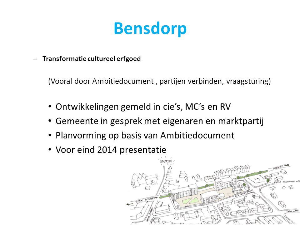 Bensdorp – Transformatie cultureel erfgoed (Vooral door Ambitiedocument, partijen verbinden, vraagsturing) Ontwikkelingen gemeld in cie's, MC's en RV