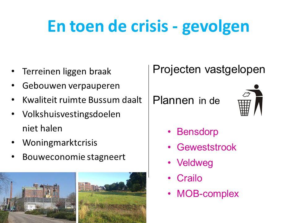 Terreinen liggen braak Gebouwen verpauperen Kwaliteit ruimte Bussum daalt Volkshuisvestingsdoelen niet halen Woningmarktcrisis Bouweconomie stagneert