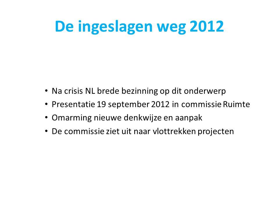 De ingeslagen weg 2012 Na crisis NL brede bezinning op dit onderwerp Presentatie 19 september 2012 in commissie Ruimte Omarming nieuwe denkwijze en aa