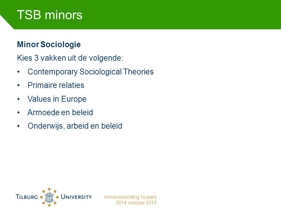 TSB minors Minor Sociologie Kies 3 vakken uit de volgende: Contemporary Sociological Theories Primaire relaties Values in Europe Armoede en beleid Onderwijs, arbeid en beleid minorvoorichting 1e jaars 2014 voorjaar 2015