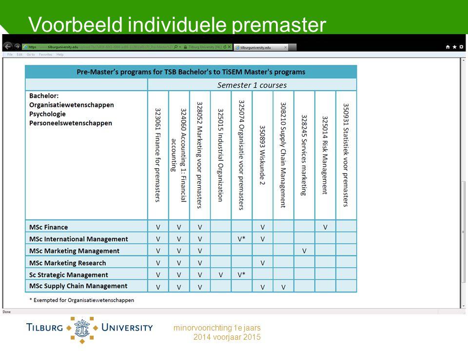 Voorbeeld individuele premaster minorvoorichting 1e jaars 2014 voorjaar 2015