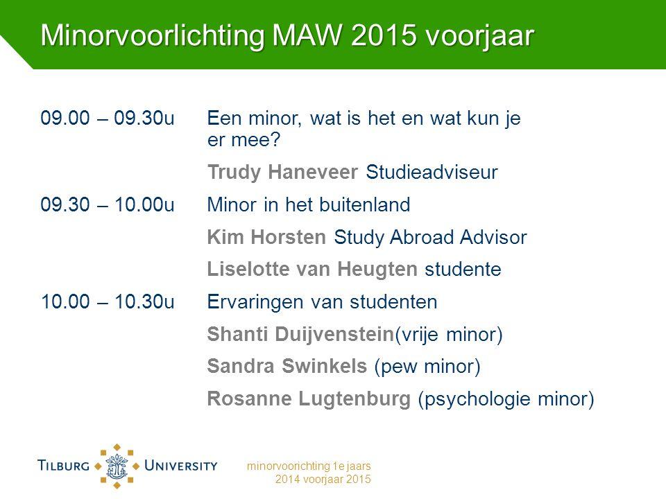 Minorvoorlichting MAW 2015 voorjaar 09.00 – 09.30u Een minor, wat is het en wat kun je er mee.