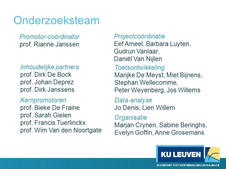 STEUNPUNT TOETSONTWIKKELING EN PEILINGEN Onderzoeksteam Promotor-coördinator prof. Rianne Janssen Inhoudelijke partners prof. Dirk De Bock prof. Johan