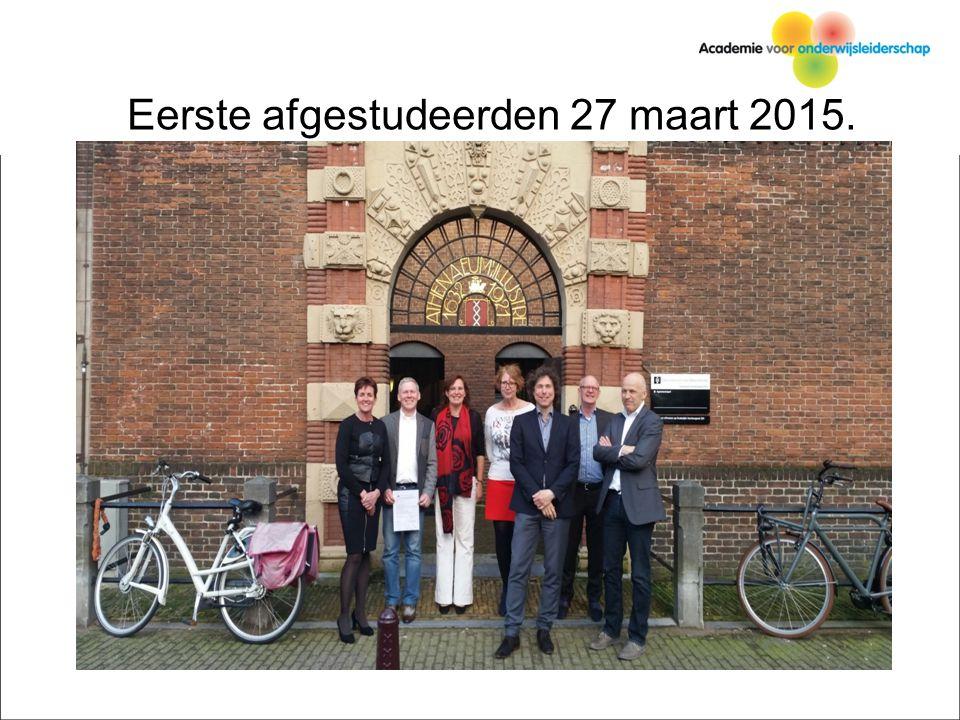 Eerste afgestudeerden 27 maart 2015.