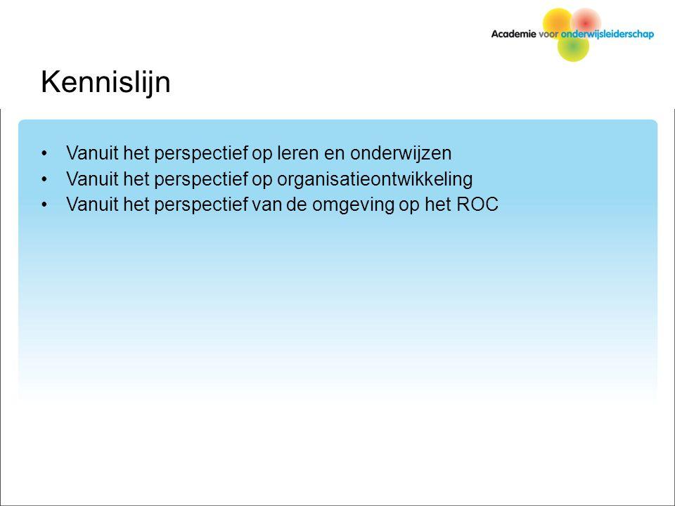 Kennislijn Vanuit het perspectief op leren en onderwijzen Vanuit het perspectief op organisatieontwikkeling Vanuit het perspectief van de omgeving op het ROC