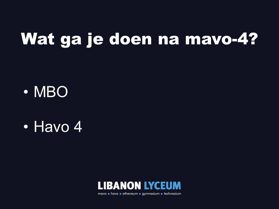 MBO Havo 4 Wat ga je doen na mavo-4