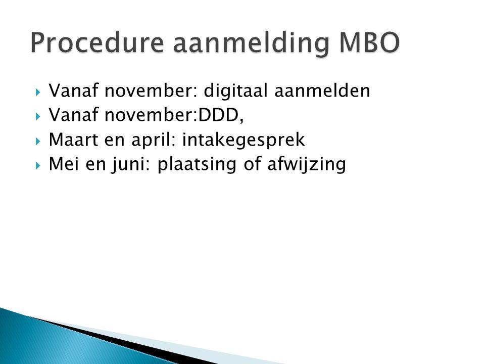 Vanaf november: digitaal aanmelden  Vanaf november:DDD,  Maart en april: intakegesprek  Mei en juni: plaatsing of afwijzing