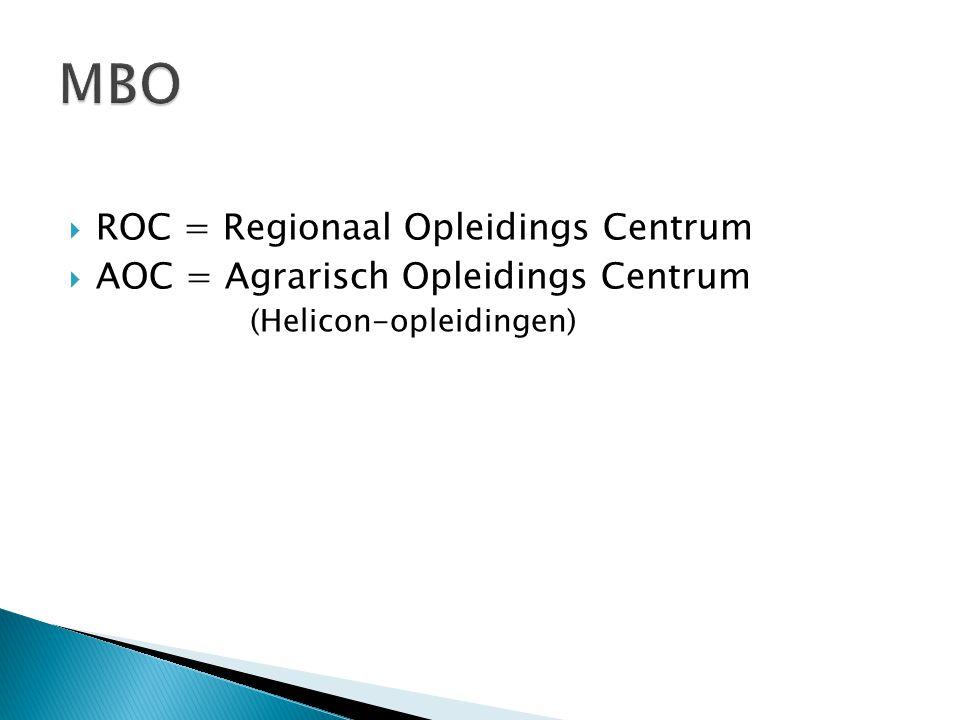  ROC = Regionaal Opleidings Centrum  AOC = Agrarisch Opleidings Centrum (Helicon-opleidingen)