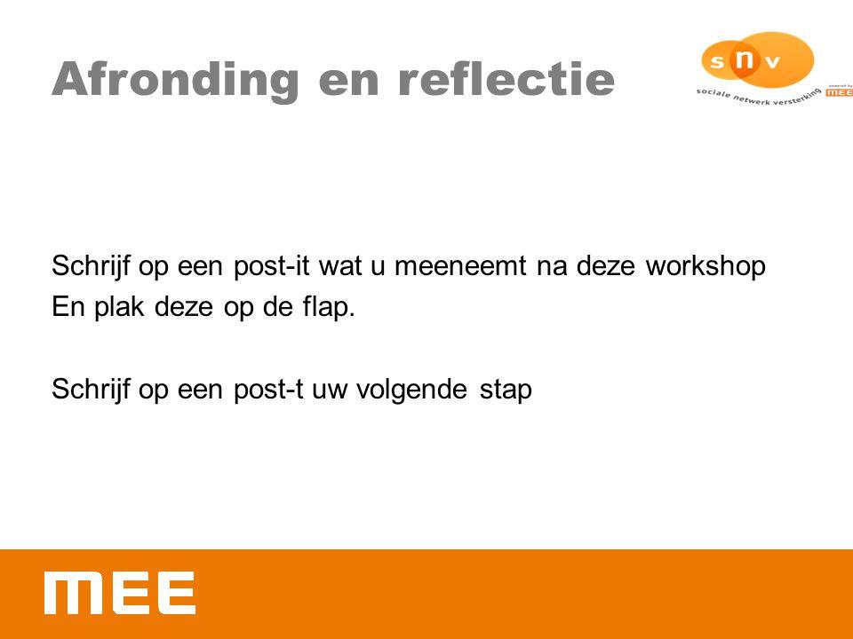 Afronding en reflectie Schrijf op een post-it wat u meeneemt na deze workshop En plak deze op de flap. Schrijf op een post-t uw volgende stap