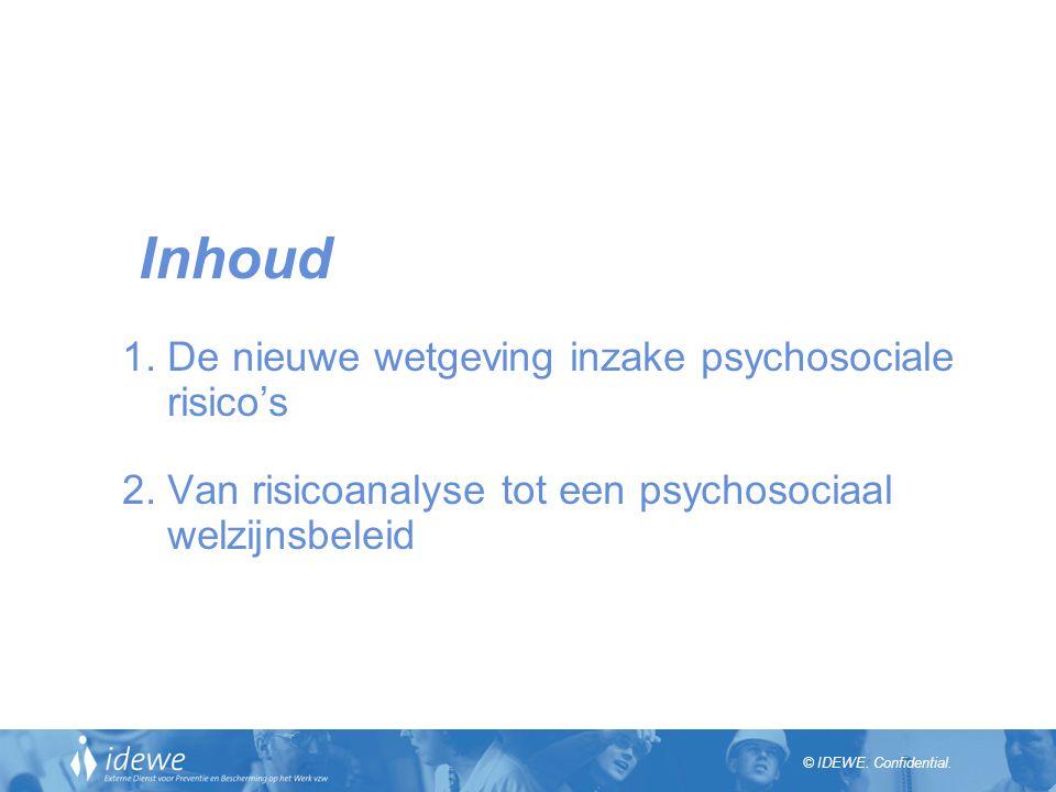 © IDEWE.Confidential. Inhoud 1. De nieuwe wetgeving inzake psychosociale risico's 2.