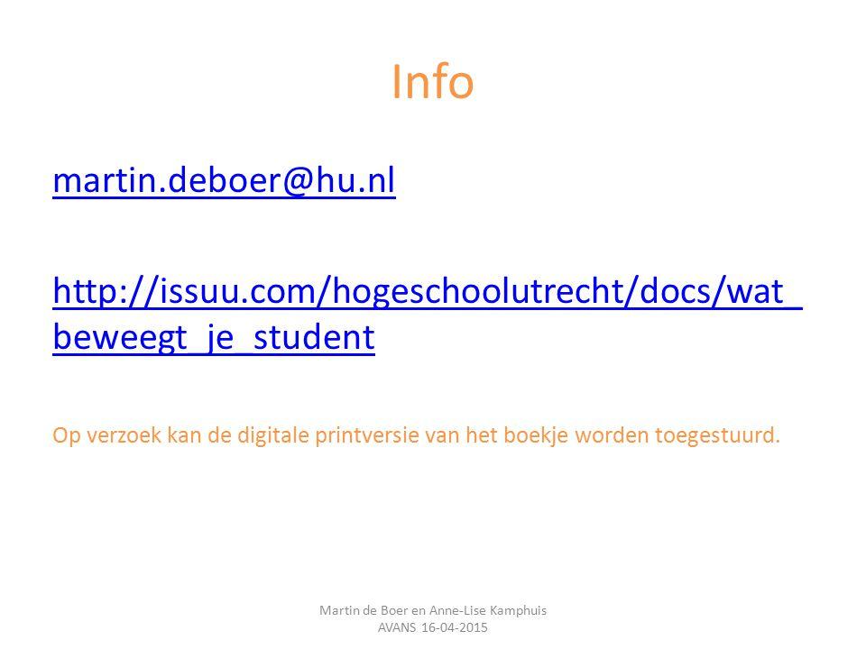 Info martin.deboer@hu.nl http://issuu.com/hogeschoolutrecht/docs/wat_ beweegt_je_student Op verzoek kan de digitale printversie van het boekje worden