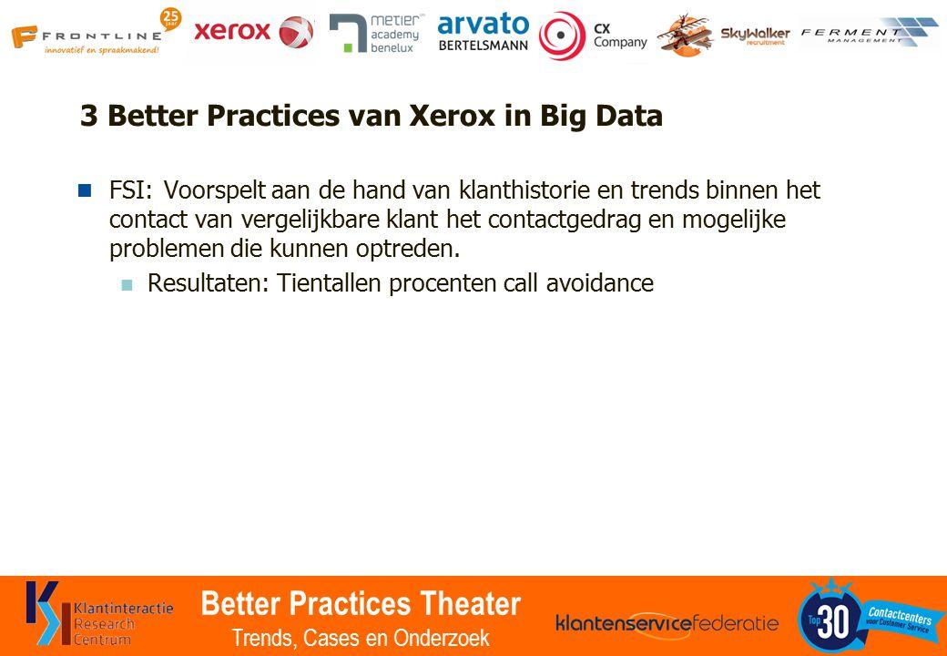 Better Practices Theater Trends, Cases en Onderzoek 3 Better Practices van Xerox in Big Data FSI:Voorspelt aan de hand van klanthistorie en trends binnen het contact van vergelijkbare klant het contactgedrag en mogelijke problemen die kunnen optreden.