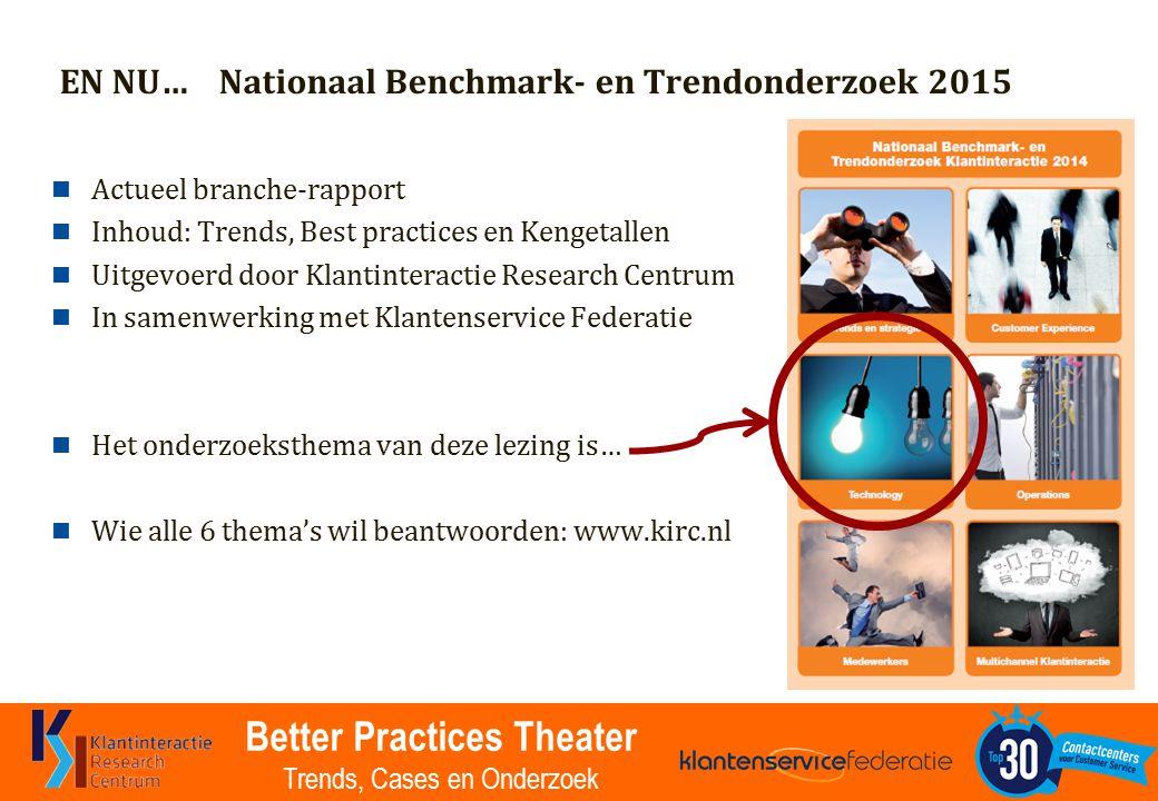 Better Practices Theater Trends, Cases en Onderzoek EN NU… Nationaal Benchmark- en Trendonderzoek 2015 Actueel branche-rapport Inhoud: Trends, Best pr
