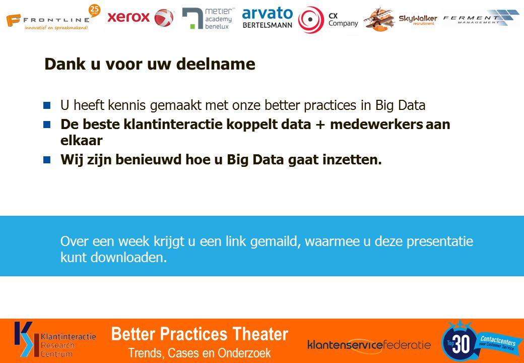 Better Practices Theater Trends, Cases en Onderzoek Dank u voor uw deelname U heeft kennis gemaakt met onze better practices in Big Data De beste klantinteractie koppelt data + medewerkers aan elkaar Wij zijn benieuwd hoe u Big Data gaat inzetten.