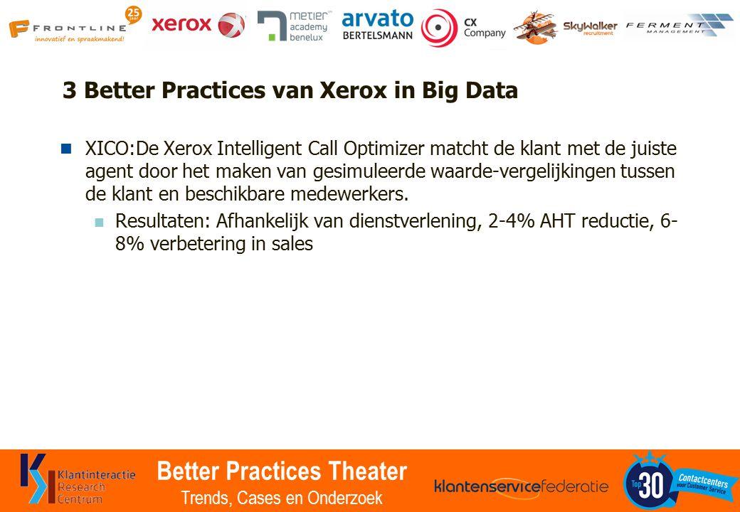 Better Practices Theater Trends, Cases en Onderzoek 3 Better Practices van Xerox in Big Data XICO:De Xerox Intelligent Call Optimizer matcht de klant met de juiste agent door het maken van gesimuleerde waarde-vergelijkingen tussen de klant en beschikbare medewerkers.