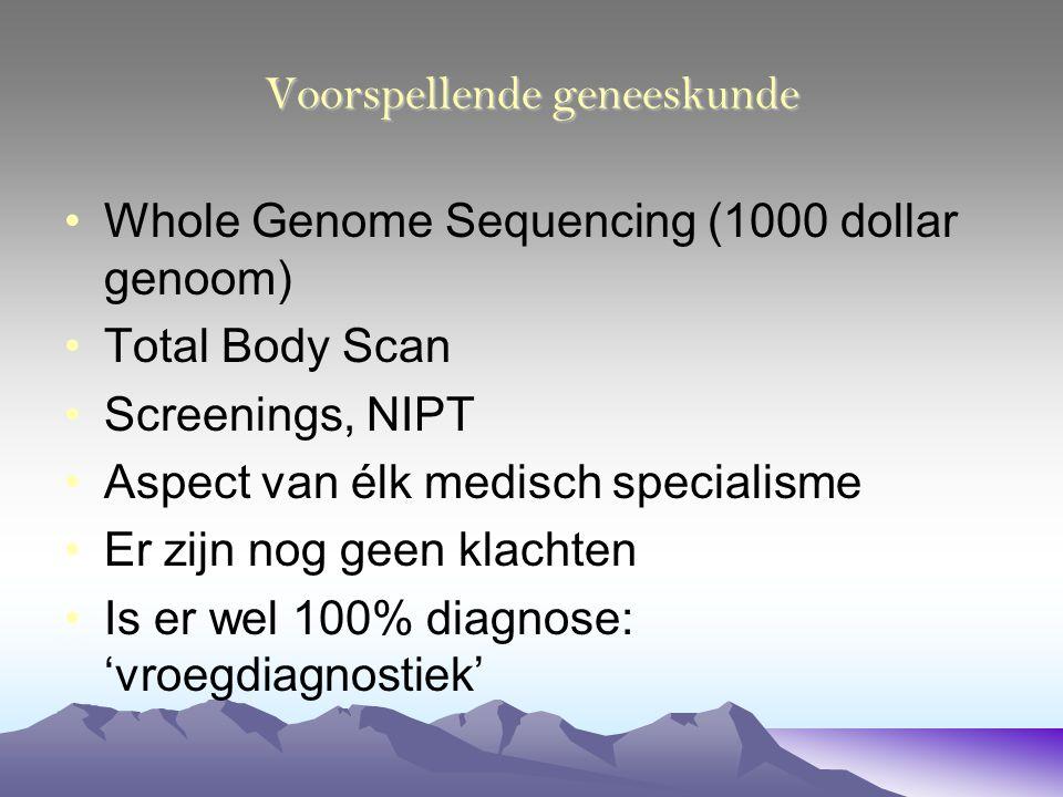Voorspellende geneeskunde Whole Genome Sequencing (1000 dollar genoom) Total Body Scan Screenings, NIPT Aspect van élk medisch specialisme Er zijn nog