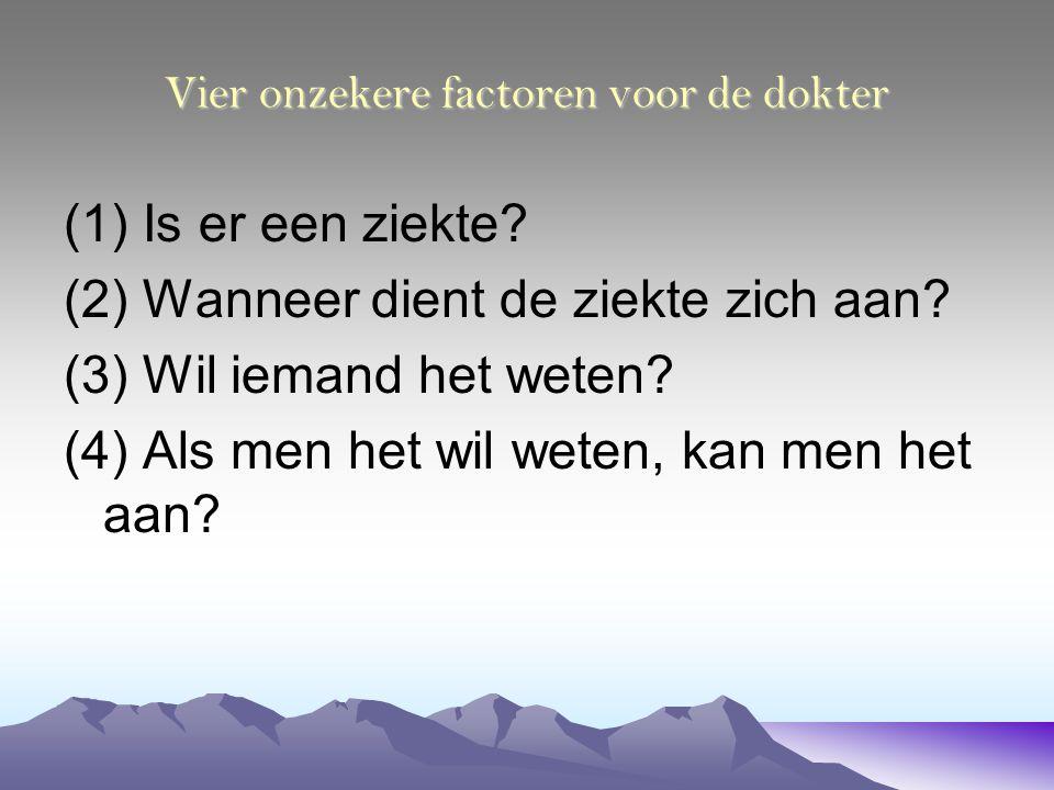 Vier onzekere factoren voor de dokter (1) Is er een ziekte? (2) Wanneer dient de ziekte zich aan? (3) Wil iemand het weten? (4) Als men het wil weten,