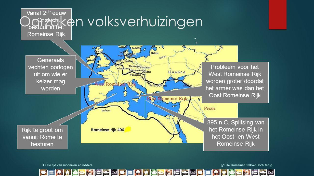 H3 De tijd van monniken en ridders§1 De Romeinen trekken zich terug 395 n.C. Splitsing van het Romeinse Rijk in het Oost- en West Romeinse Rijk Proble