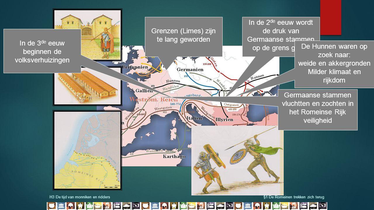 H3 De tijd van monniken en ridders§1 De Romeinen trekken zich terug In de 2 de eeuw wordt de druk van Germaanse stammen op de grens groter Grenzen (Li