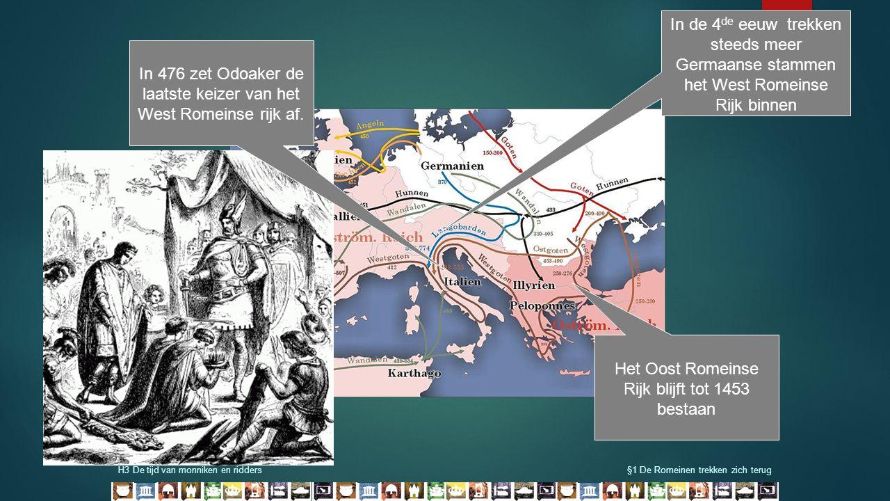 H3 De tijd van monniken en ridders§1 De Romeinen trekken zich terug In de 4 de eeuw trekken steeds meer Germaanse stammen het West Romeinse Rijk binne