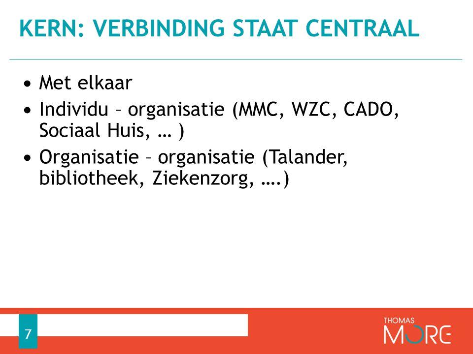 Met elkaar Individu – organisatie (MMC, WZC, CADO, Sociaal Huis, … ) Organisatie – organisatie (Talander, bibliotheek, Ziekenzorg, ….) KERN: VERBINDING STAAT CENTRAAL 7