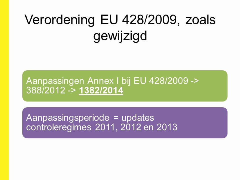 Verordening EU 428/2009, zoals gewijzigd Aanpassingen Annex I bij EU 428/2009 -> 388/2012 -> 1382/2014 Aanpassingsperiode = updates controleregimes 20