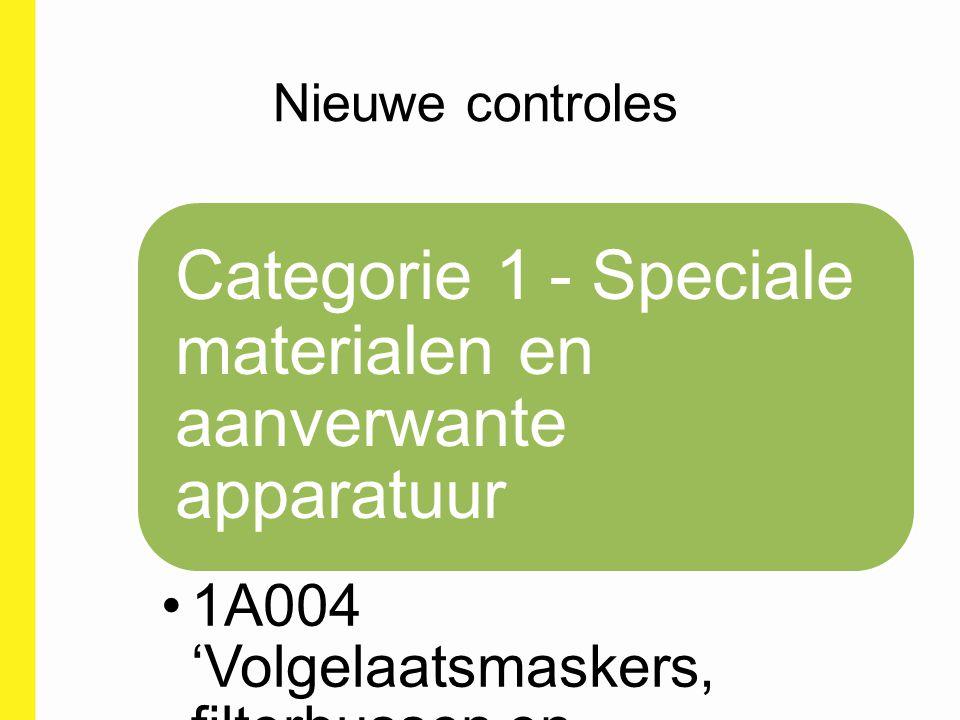 Nieuwe controles Categorie 1 - Speciale materialen en aanverwante apparatuur 1A004 'Volgelaatsmaskers, filterbussen en decontaminatieapparatuur '