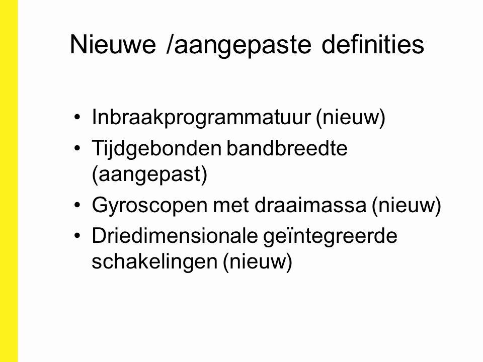 Nieuwe /aangepaste definities Inbraakprogrammatuur (nieuw) Tijdgebonden bandbreedte (aangepast) Gyroscopen met draaimassa (nieuw) Driedimensionale geï