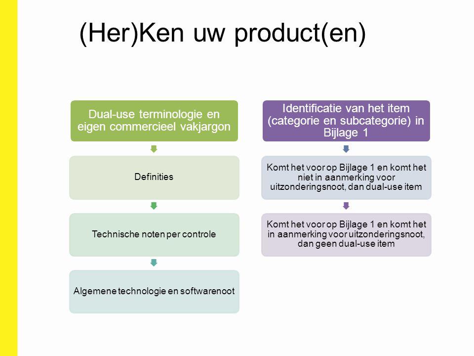 Dual-use terminologie en eigen commercieel vakjargon DefinitiesTechnische noten per controleAlgemene technologie en softwarenoot Identificatie van het