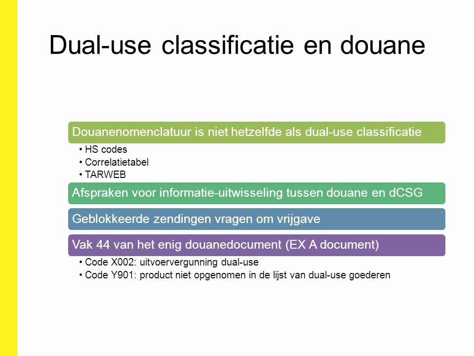 Dual-use classificatie en douane Douanenomenclatuur is niet hetzelfde als dual-use classificatie HS codes Correlatietabel TARWEB Afspraken voor inform