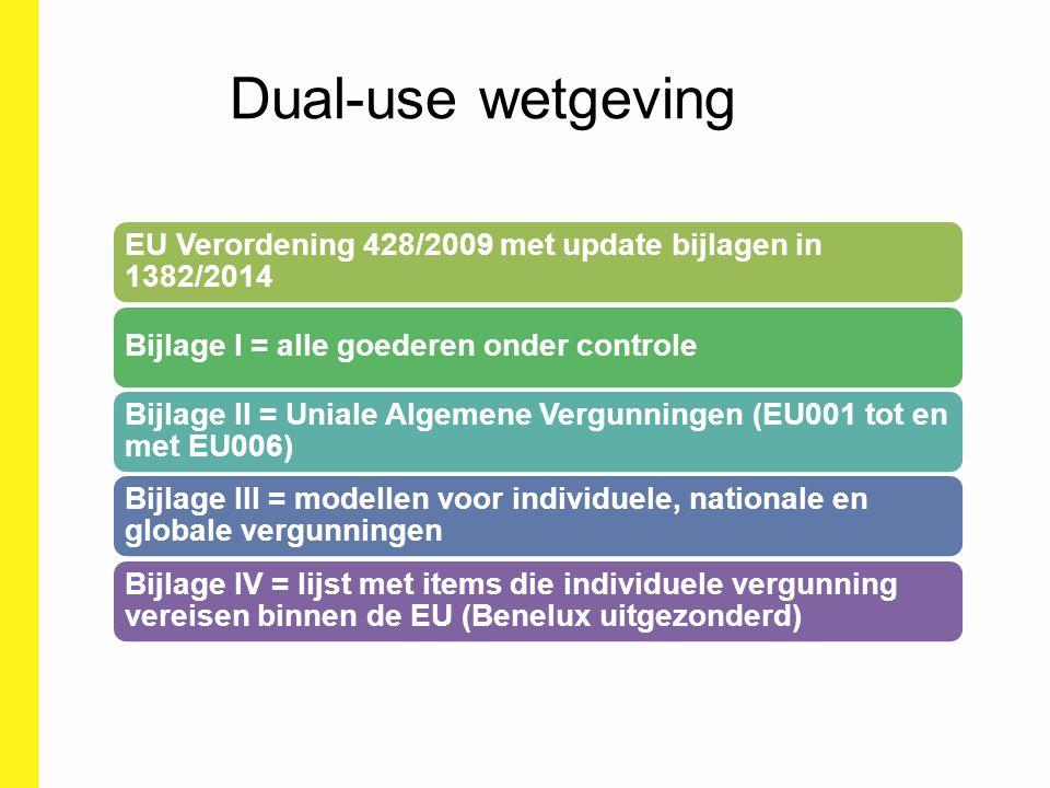 Dual-use wetgeving EU Verordening 428/2009 met update bijlagen in 1382/2014 Bijlage I = alle goederen onder controle Bijlage II = Uniale Algemene Verg