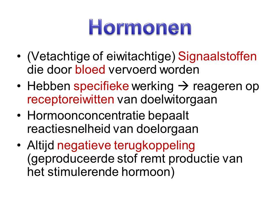 (Vetachtige of eiwitachtige) Signaalstoffen die door bloed vervoerd worden Hebben specifieke werking  reageren op receptoreiwitten van doelwitorgaan