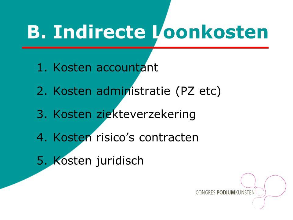 B. Indirecte Loonkosten 1.Kosten accountant 2.Kosten administratie (PZ etc) 3.Kosten ziekteverzekering 4.Kosten risico's contracten 5.Kosten juridisch