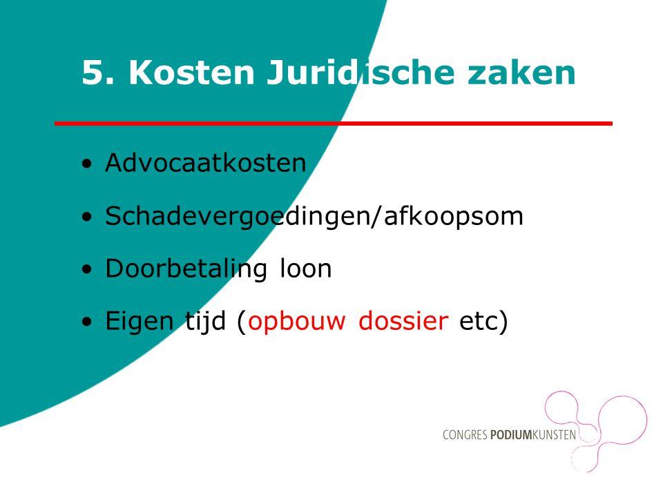 5. Kosten Juridische zaken Advocaatkosten Schadevergoedingen/afkoopsom Doorbetaling loon Eigen tijd (opbouw dossier etc)