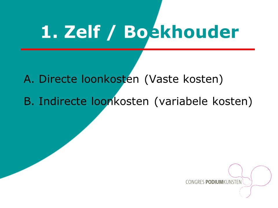1. Zelf / Boekhouder A. Directe loonkosten (Vaste kosten) B. Indirecte loonkosten (variabele kosten)