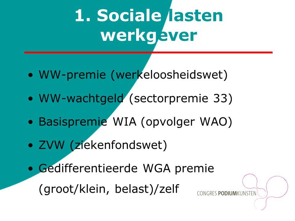 1. Sociale lasten werkgever WW-premie (werkeloosheidswet) WW-wachtgeld (sectorpremie 33) Basispremie WIA (opvolger WAO) ZVW (ziekenfondswet) Gediffere
