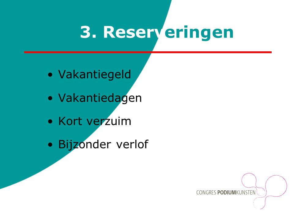 3. Reserveringen Vakantiegeld Vakantiedagen Kort verzuim Bijzonder verlof