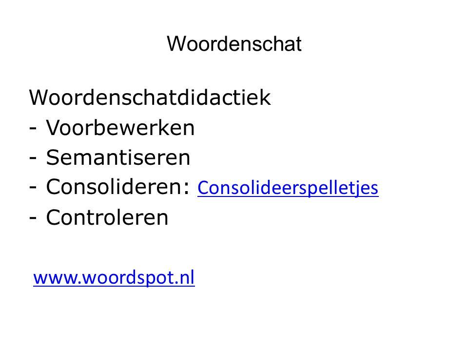 Woordenschat Woordenschatdidactiek -Voorbewerken -Semantiseren -Consolideren: Consolideerspelletjes Consolideerspelletjes -Controleren www.woordspot.nl