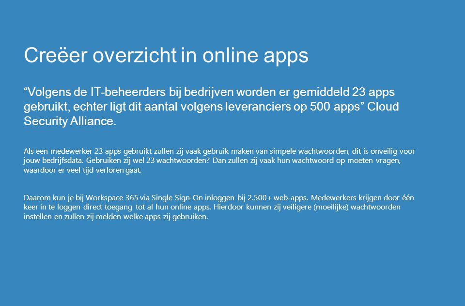 """Creëer overzicht in online apps """"Volgens de IT-beheerders bij bedrijven worden er gemiddeld 23 apps gebruikt, echter ligt dit aantal volgens leveranci"""