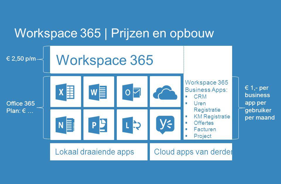 Workspace 365 Workspace 365 | Prijzen en opbouw Office 365 Plan: € … € 2,50 p/m € 1,- per business app per gebruiker per maand Workspace 365 Business