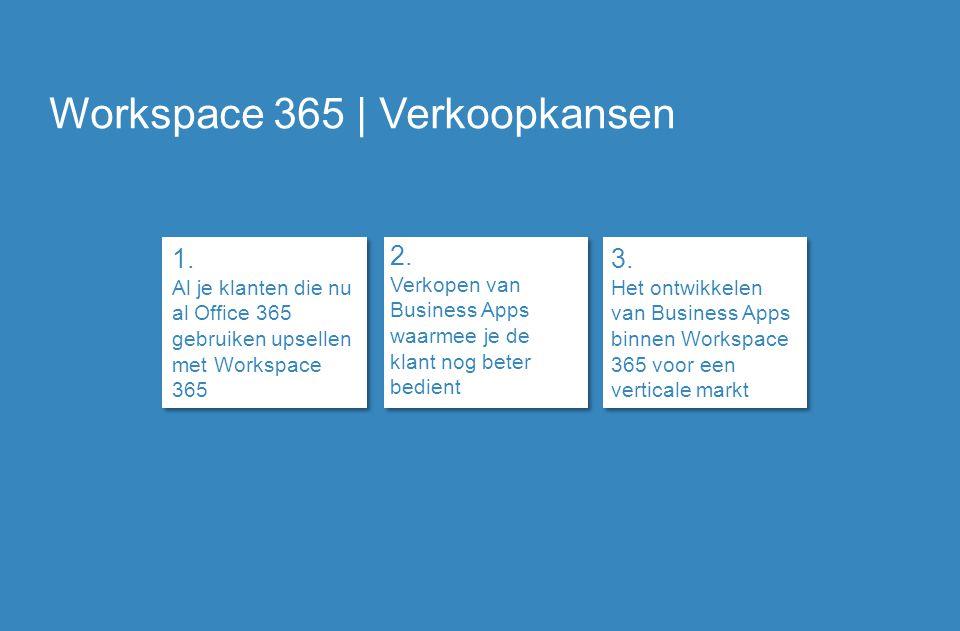 Workspace 365 | Verkoopkansen 1. Al je klanten die nu al Office 365 gebruiken upsellen met Workspace 365 2. Verkopen van Business Apps waarmee je de k