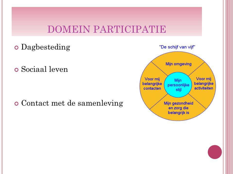 DOMEIN PARTICIPATIE Dagbesteding Sociaal leven Contact met de samenleving